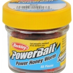 XX NALUCA BERKLEY POWERBAIT HONEY WORMS HOT YELLOW 2,5CM