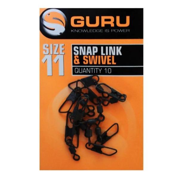 Agrafa si Vartej Guru Snap Link and Swivel, 10buc/plic