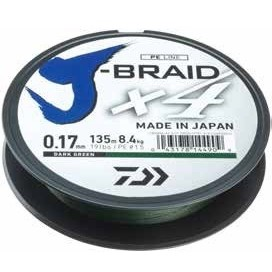 Fir Textil Daiwa J-Braid X4, Dark Green, 135m