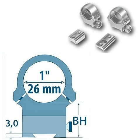 Prindere fixa Browning Bar D=26mm/H=13,5mm