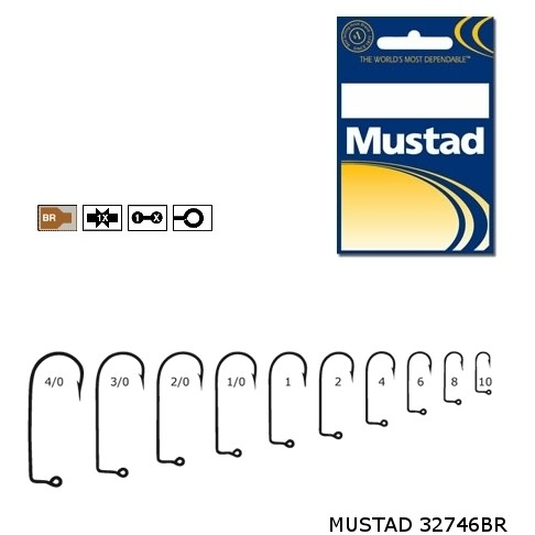 Carlige Mustad M32746 Bronz pentru Jig/Twister, 100buc/plic