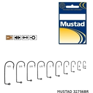 Carlige Mustad M32756 Bronz pentru Jig/Twister, 100buc/plic
