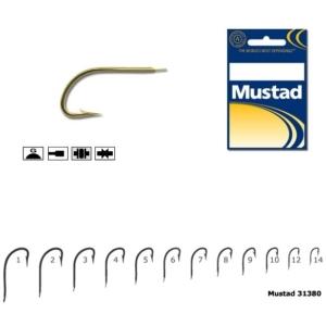 Carlig Mustad M31380, Forjat cu Tija Scurta, Auriu, 10buc/plic