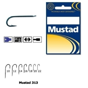 Carlig Mustad Concurs M313, Tija Lunga, Negru/Albastru, 10buc/plic