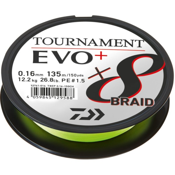 Fir Textil Daiwa Tournament X8 Braid Evo+, Chartreuse, 135m